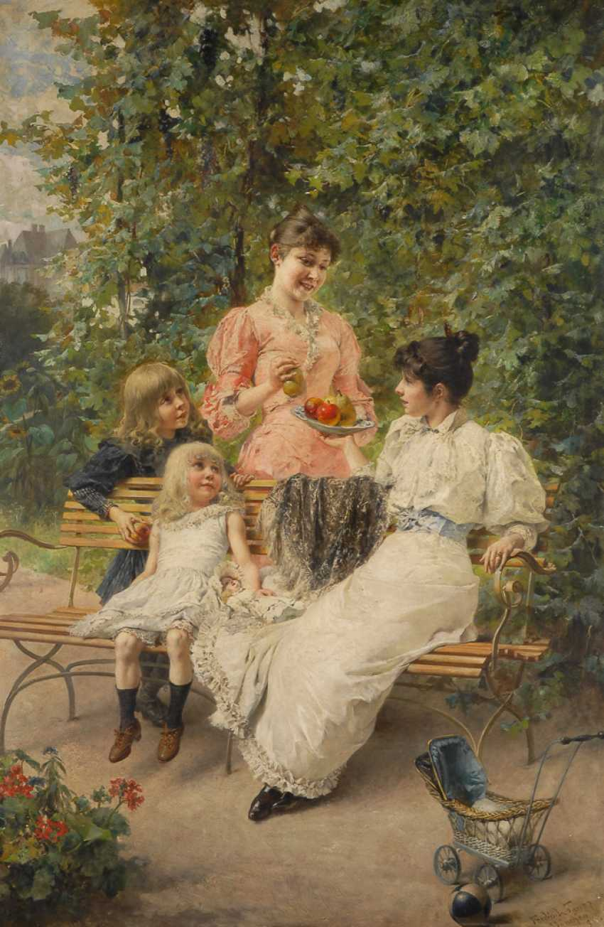 WAGNER, FerdinanDurchmesser: Damen mit Kindern im Park. - Foto 1