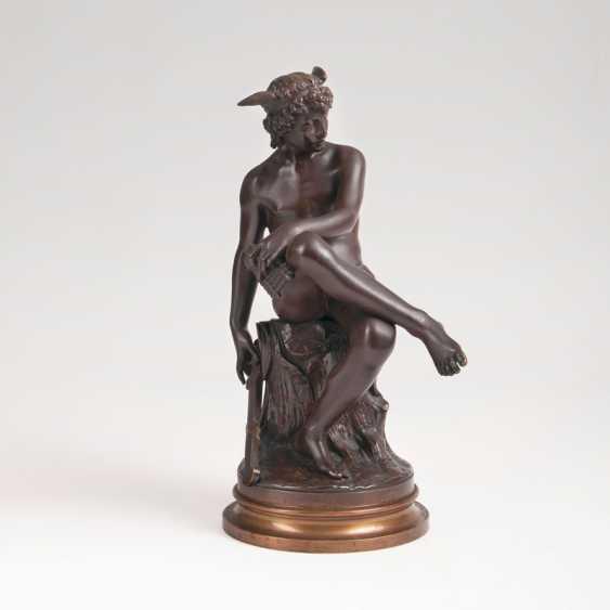 "Pierre Marius Montagne ""Bronze sculpture 'Seated young Hermes""' - photo 1"