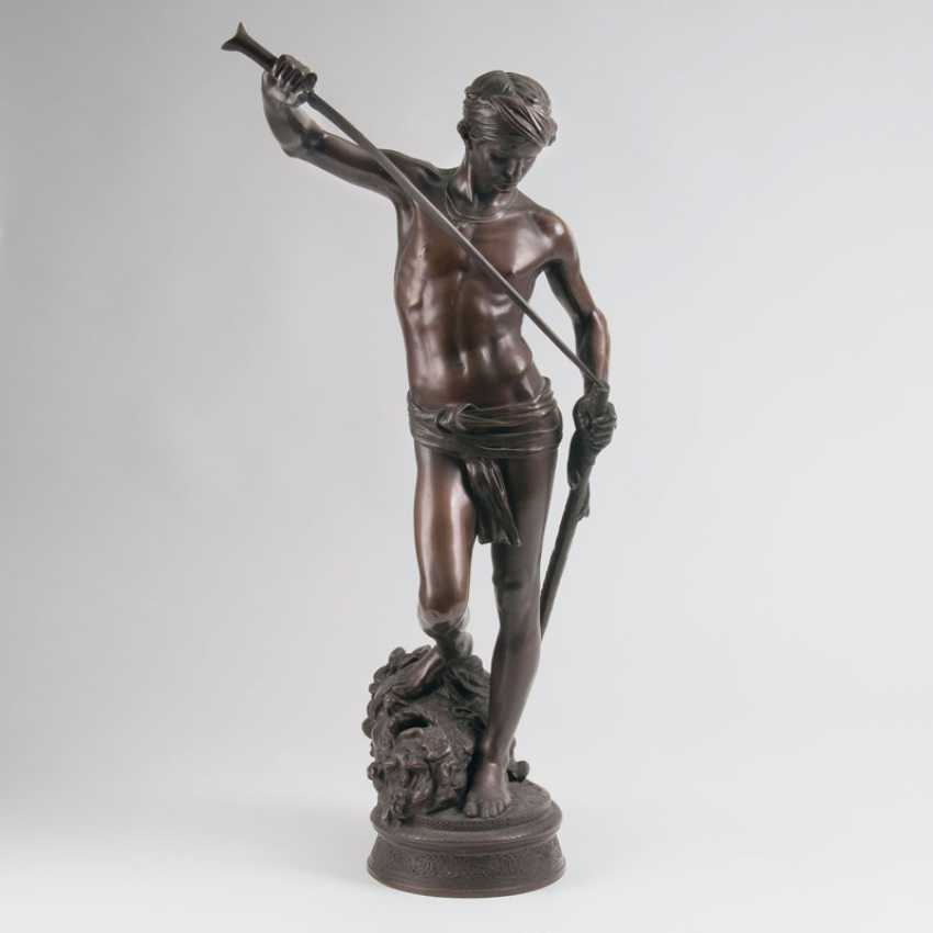 "Antonin (Marius-Jean-Antonin) Merci ""Bronze sculpture 'David's Triumph over Goliath""' - photo 1"