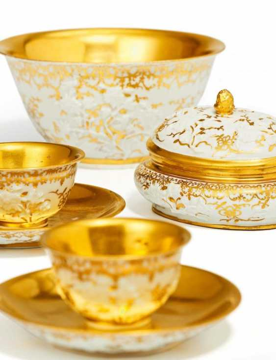 Four parts of a Service with branches and gold decor - photo 1
