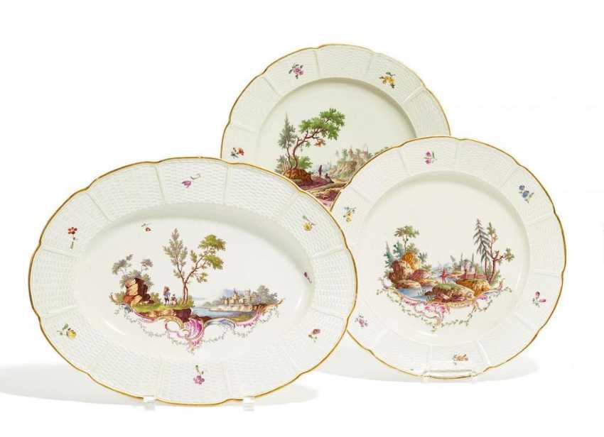 Ovale Platte und 2 Teller Landschaftsszenen - Foto 1