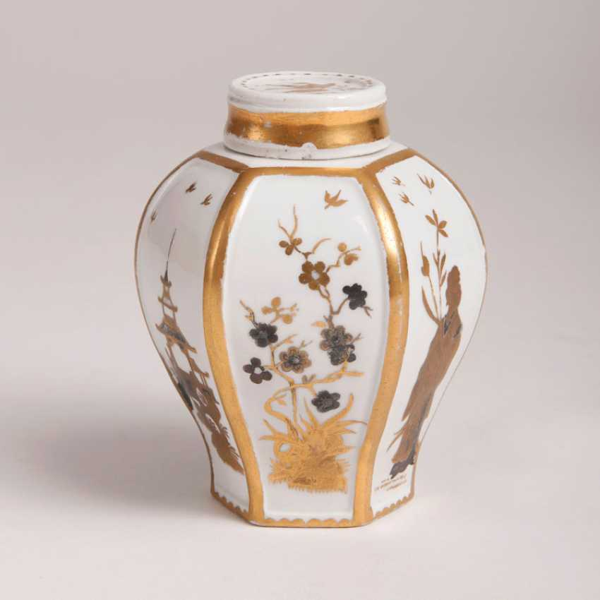 """""""Rare Böttger-tea caddy with Gold and silver painting"""" - photo 1"""