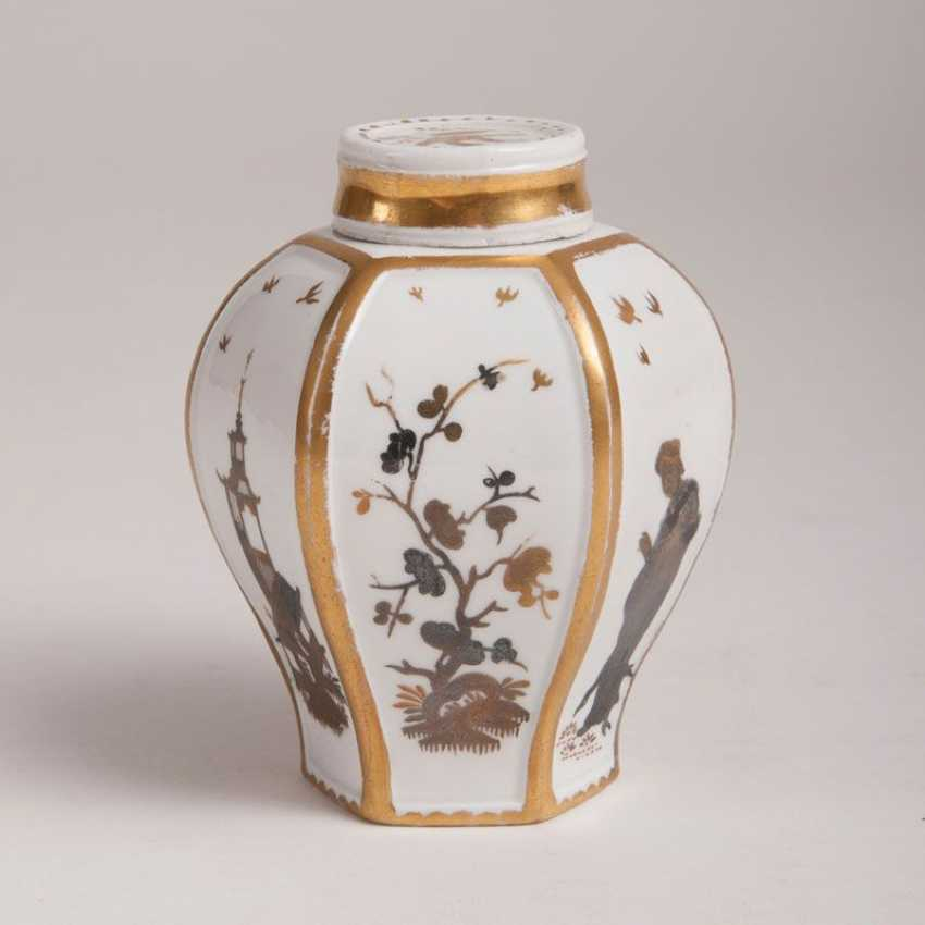 """""""Rare Böttger-tea caddy with Gold and silver painting"""" - photo 2"""