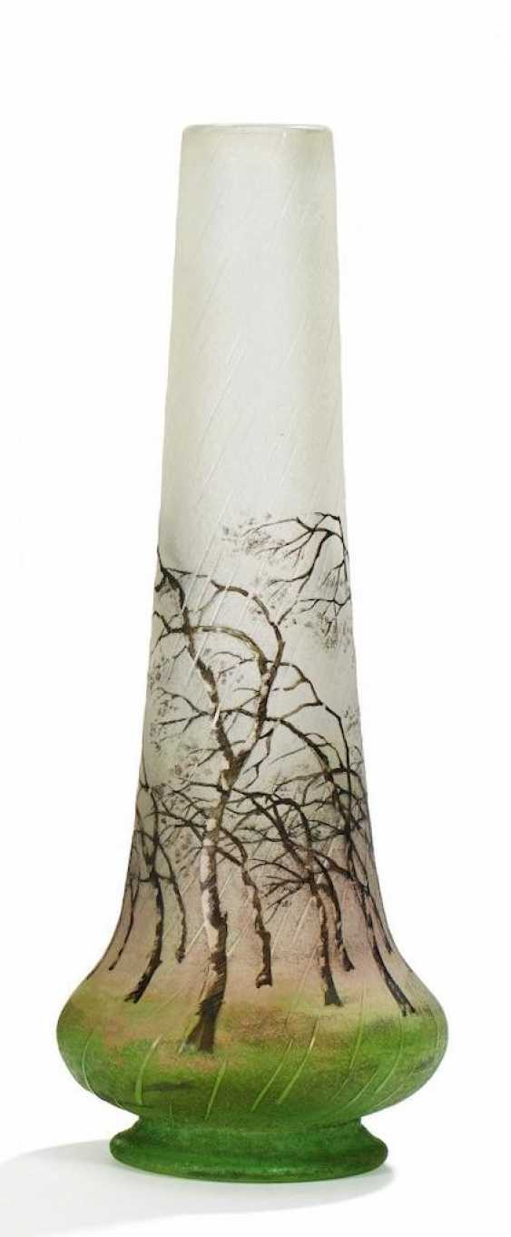 Small cone vase with birch trees in the rain - photo 1