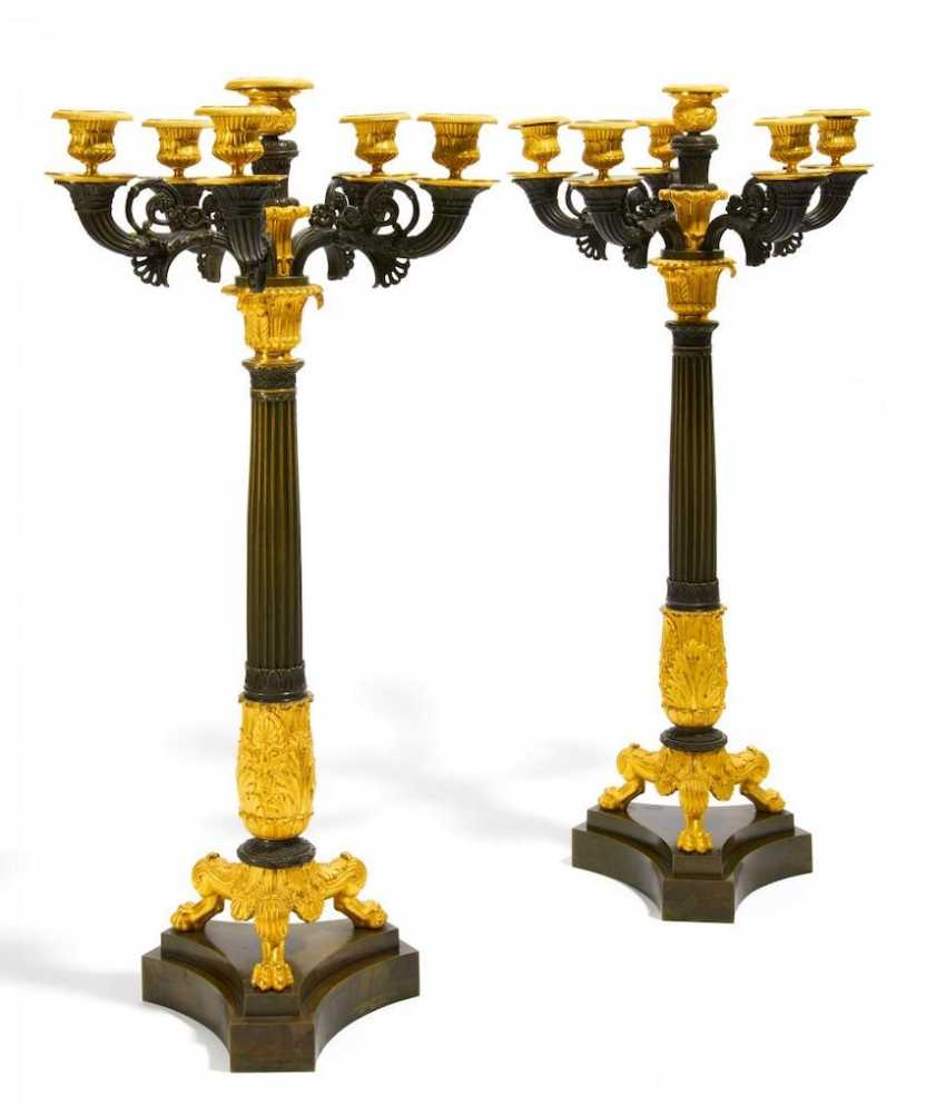 Pair of large candelabra of Charles X - photo 1