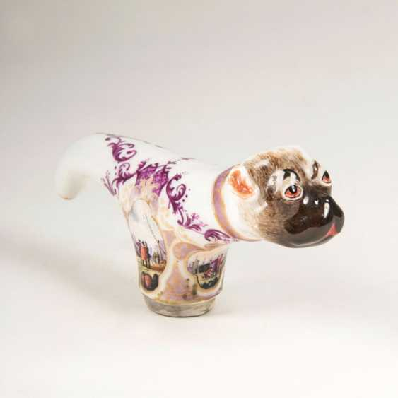 """""""Rare Meissen cane crutch in the Form of a pug"""" - photo 1"""