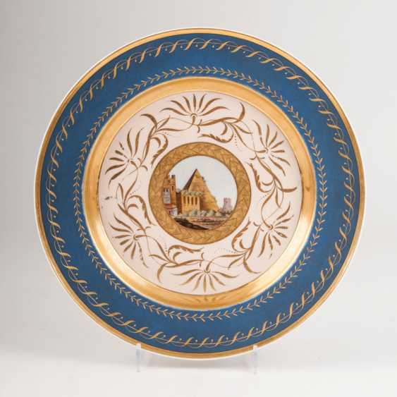 """Rare plate with matte blue stock and micro-mosaic painting"" - photo 1"