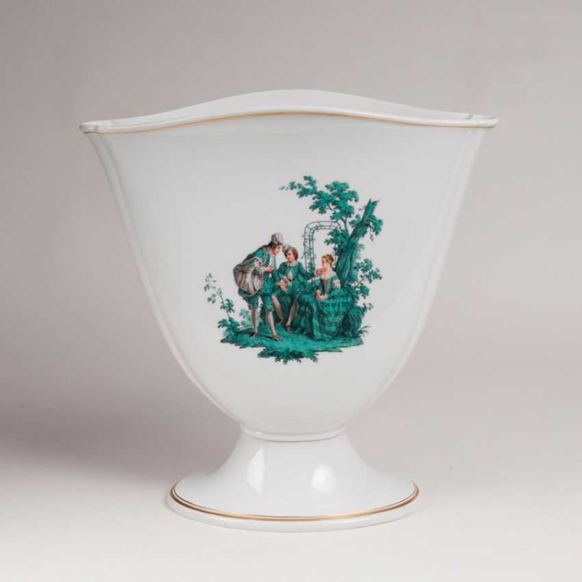 """""""Large Tulip-shaped Vase with copper green Watteau painting"""" - photo 1"""