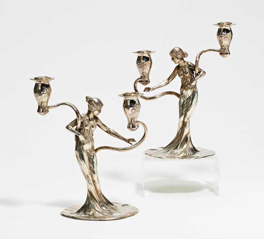 Paar Jugendstil Leuchter mit Figurenzier - Foto 1