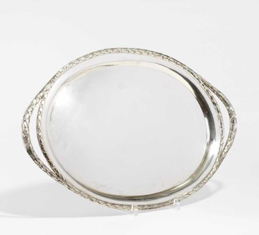 Großes ovales Tablett mit Lorbeerzier - Foto 1