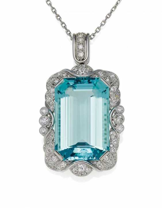 Aquamarine Diamond Pendant Necklace - photo 1