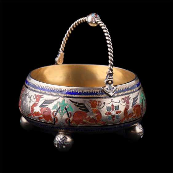 Interesting sugar bowl with enamel