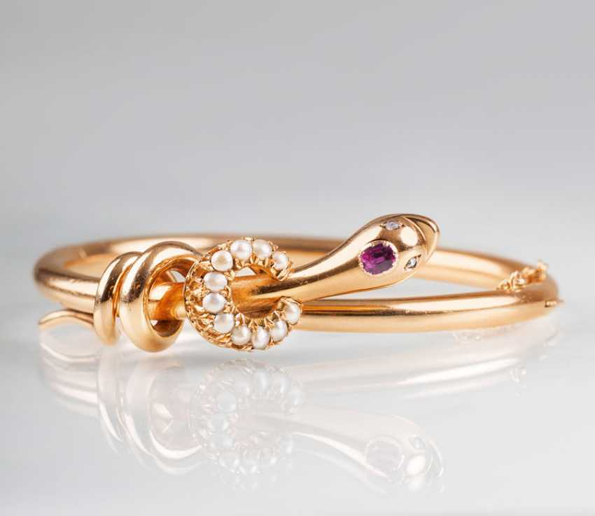 """""""Find-Siecle bangle with ruby and seed pearls 'snake""""' - photo 1"""