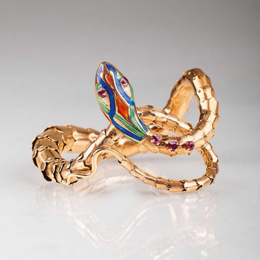 """Vintage bangle snake with enamel and rubies"" - photo 1"