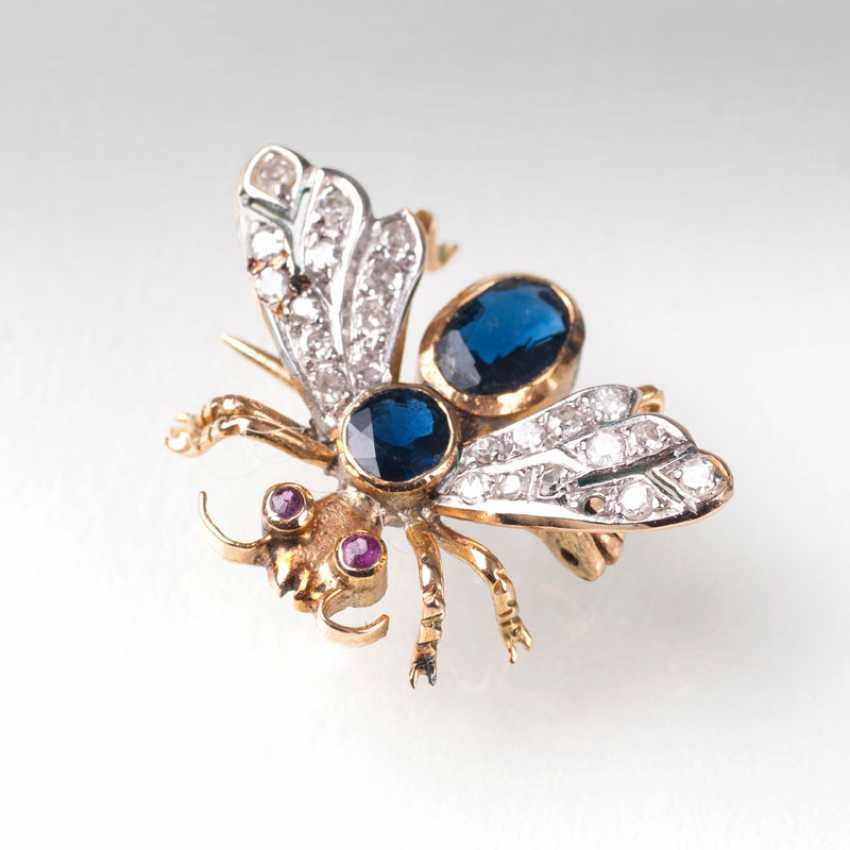 """Small Vintage Gemstone Brooch 'Fly""' - photo 1"