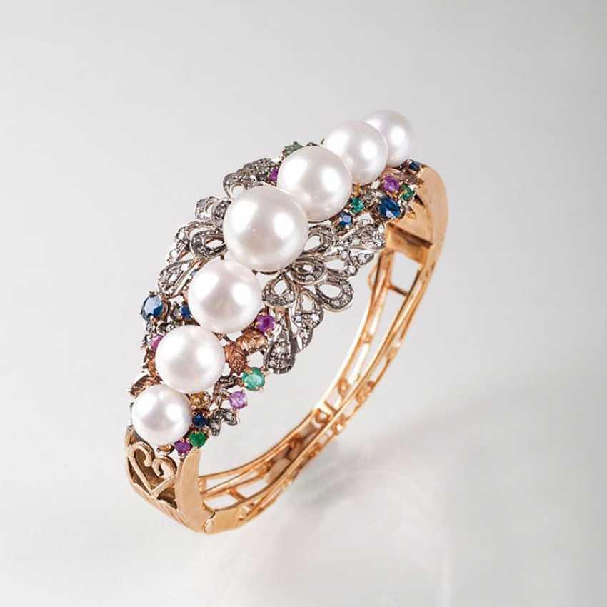 """Antique neo classical gem-pearl-bangle bracelet with flowers decor"" - photo 1"
