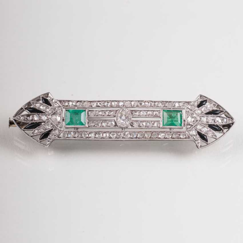"""Art Deco Smaragd-Diamant-Brosche"" - photo 1"