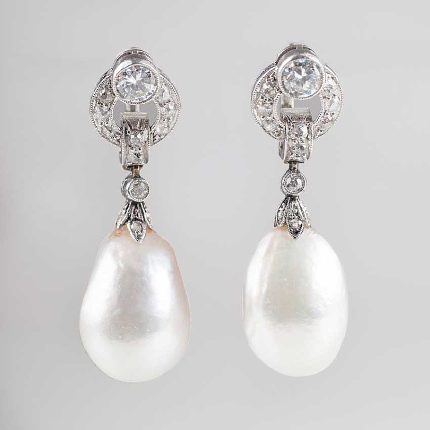 """""""Pair of Art Deco diamond drop earrings with natural pearls"""" - photo 1"""