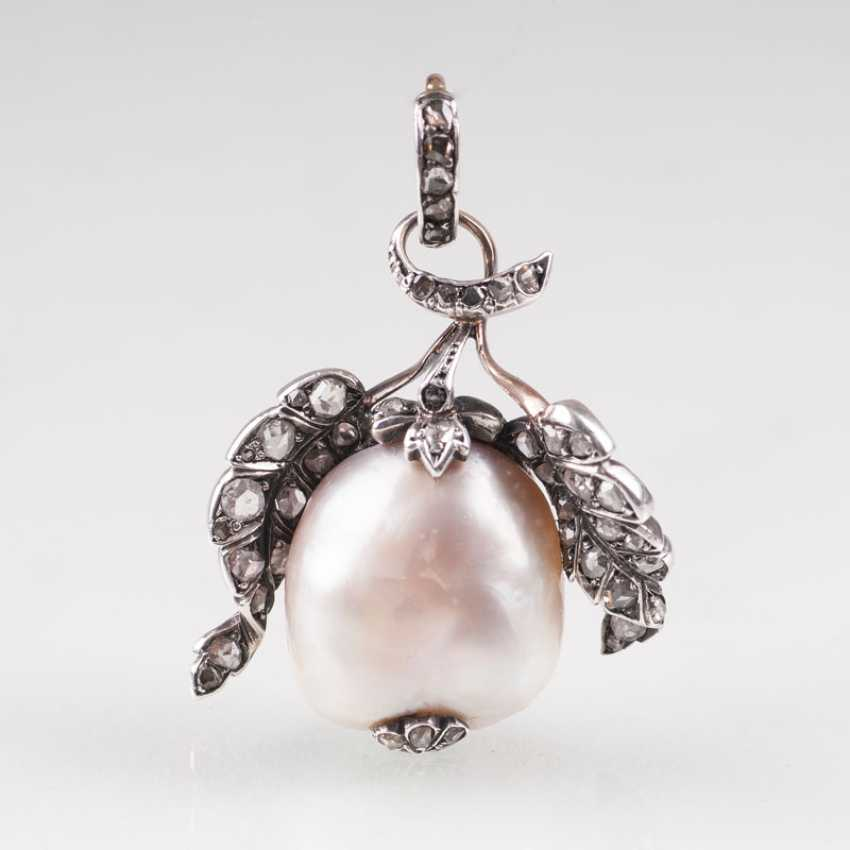 """""""Rare large antique natural pearl with diamond-mount"""" - photo 1"""