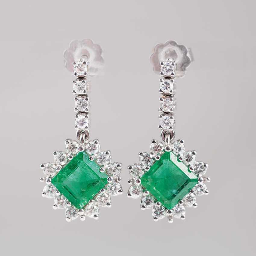 """Pair Of Emerald And Diamond Earrings"" - photo 1"