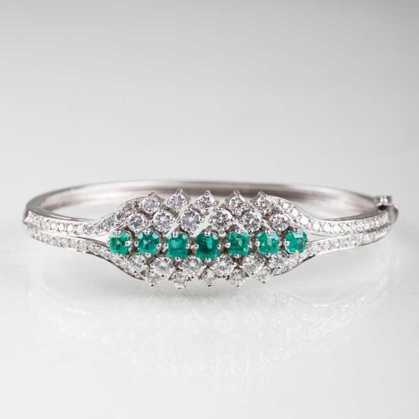 """High-Fine Vintage Emerald And Diamond Bangle Bracelet"" - photo 1"