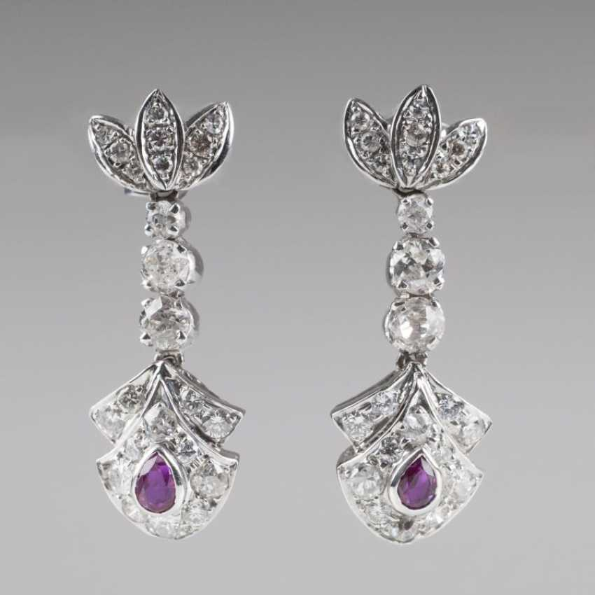 """Pair Of Ruby And Diamond Earrings"" - photo 1"