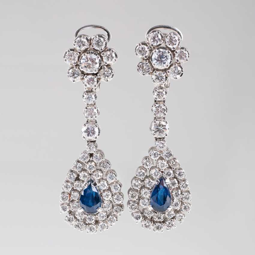 """High-Fine Pair Of Vintage Sapphire And Diamond Earrings"" - photo 1"