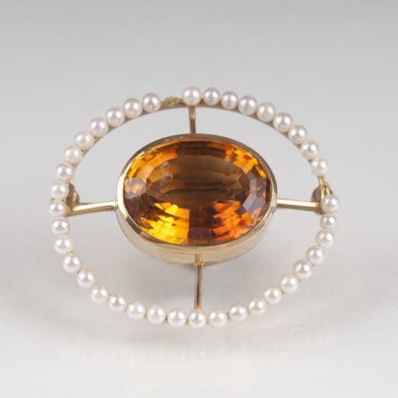 """""""Large citrine brooch with seed pearl trim"""" - photo 1"""