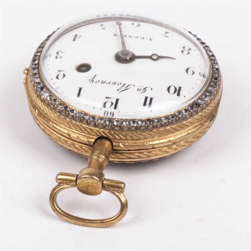 Beautiful gold plated pocket watch with diamonds and painted enamel - photo 4
