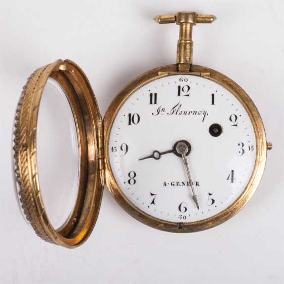 Beautiful gold plated pocket watch with diamonds and painted enamel - photo 2