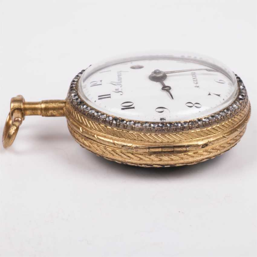 Beautiful gold plated pocket watch with diamonds and painted enamel - photo 3