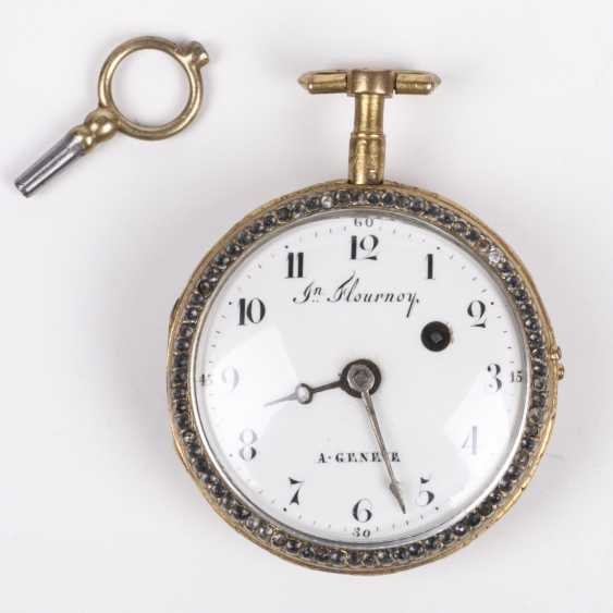 Beautiful gold plated pocket watch with diamonds and painted enamel