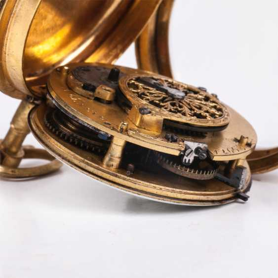 Beautiful gold plated pocket watch with diamonds and painted enamel - photo 7