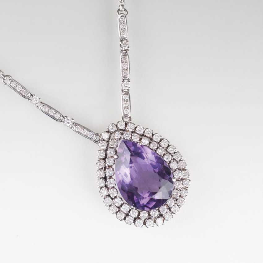 """Large Amethyst and diamond pendant with chain"" - photo 1"