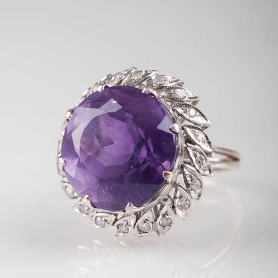 """Large Vintage Amethyst And Diamond Ring"" - photo 1"