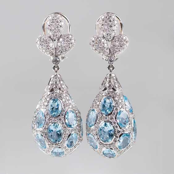 """Outstanding pair of aquamarine and diamond earrings"" - photo 1"