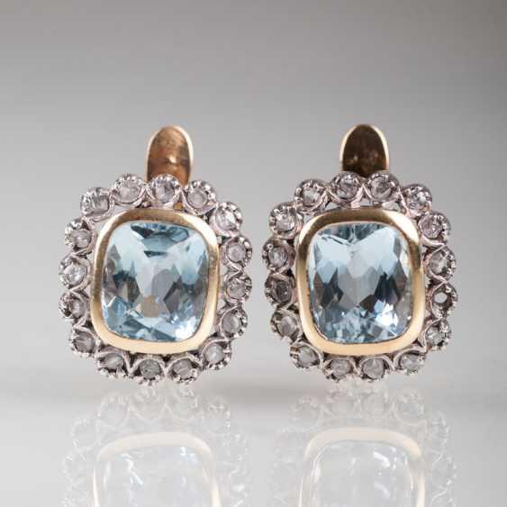 """Pair Of Aquamarine And Diamond Earrings"" - photo 1"