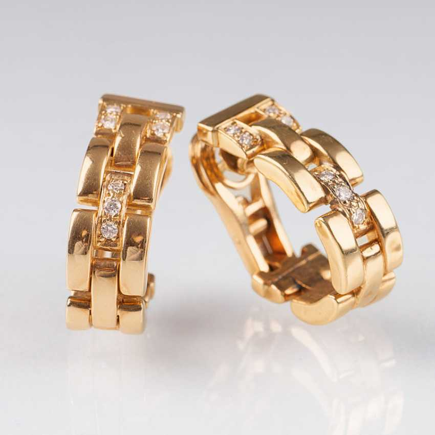 """Pair of Gold and diamond earrings by Cartier"" - photo 1"
