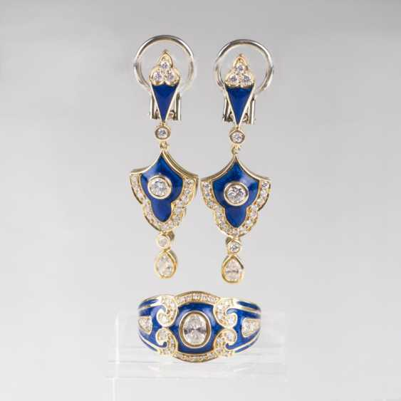 """Diamond-enamel-jewelry set with Ring and earrings"" - photo 1"