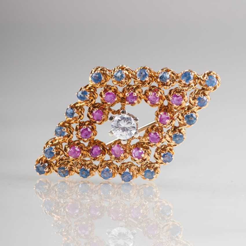 """""""Small sapphire-ruby-brooch with solitaire"""" - photo 1"""