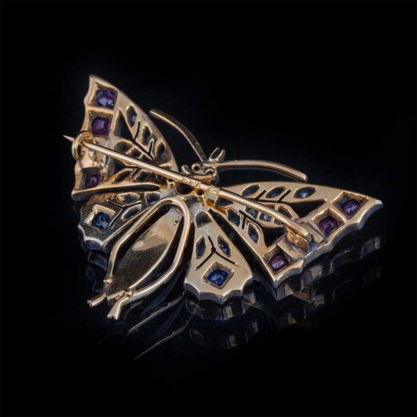 "Gold brooch ""Butterfly"" with diamonds, rubies, sapphires - photo 3"