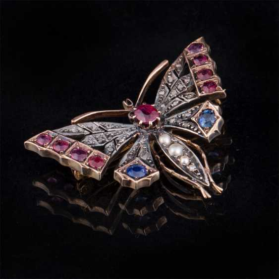 "Gold brooch ""Butterfly"" with diamonds, rubies, sapphires - photo 1"