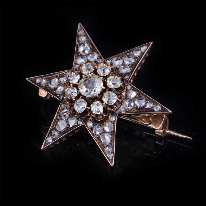 Brooch Star with diamonds and diamonds - photo 1