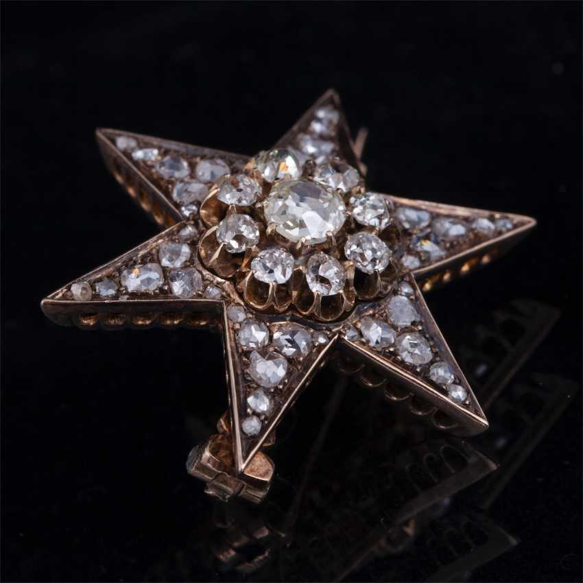 Brooch Star with diamonds and diamonds - photo 2