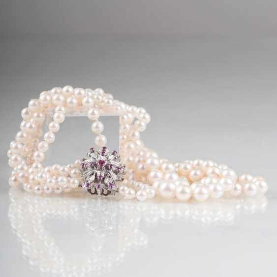 """Pearl necklace with ruby and diamond Clasp"" - photo 1"