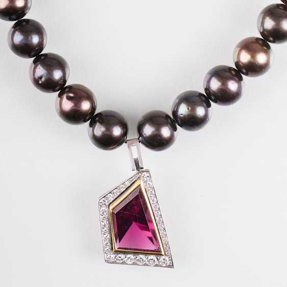 """""""Tahitian pearl necklace with tourmaline and diamond pendant"""" - photo 1"""