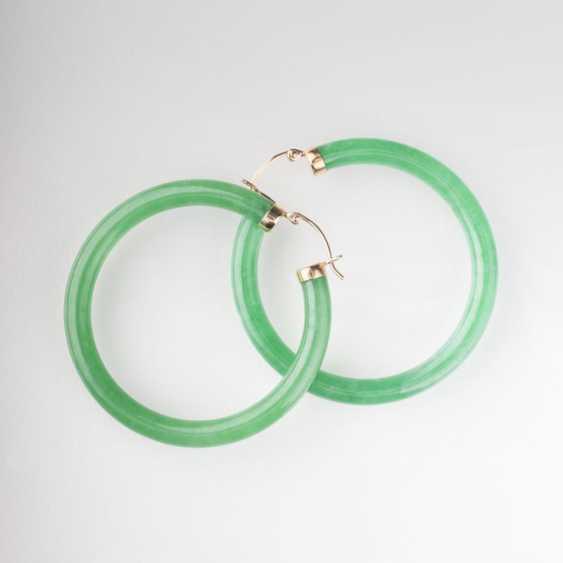 """""""Pair of large Jade Hoop earrings"""" - photo 1"""
