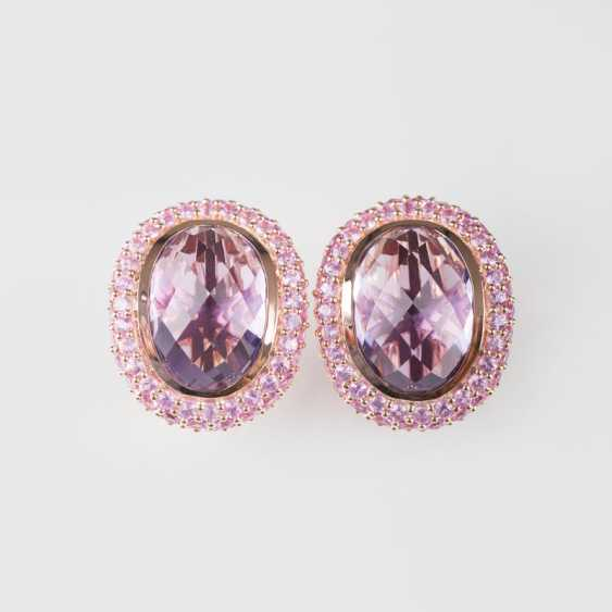 """Pair of Amethyst stud earrings with Pink sapphires"" - photo 1"