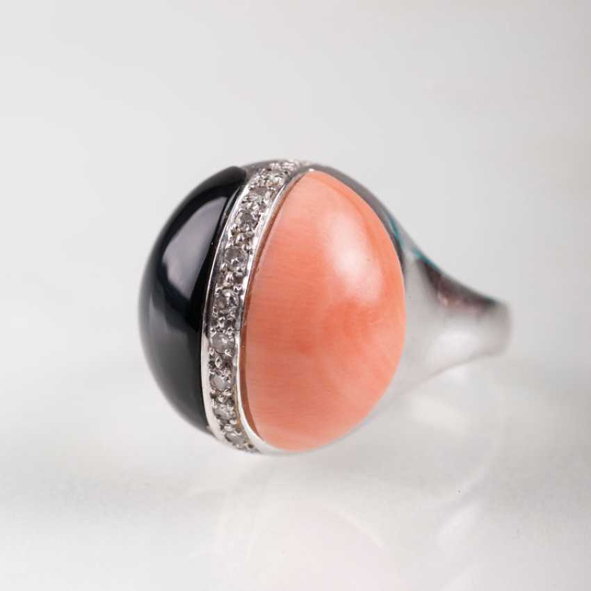 """Onyx, coral Ring with small diamonds"" - photo 1"