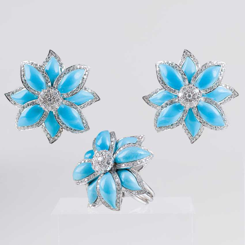 """""""Excellent turquoise brilliant jewelry set with earrings and Ring"""" - photo 1"""